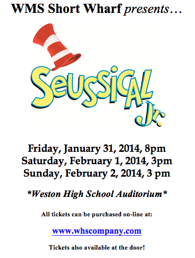 Seussical Jr. is OPENING in WESTON